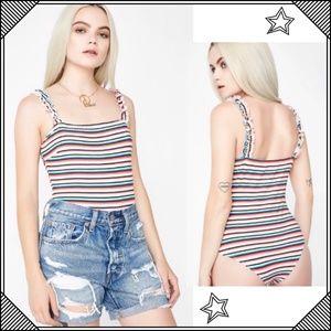 * Blue Blush striped Ruffle Bodysuit * One Piece
